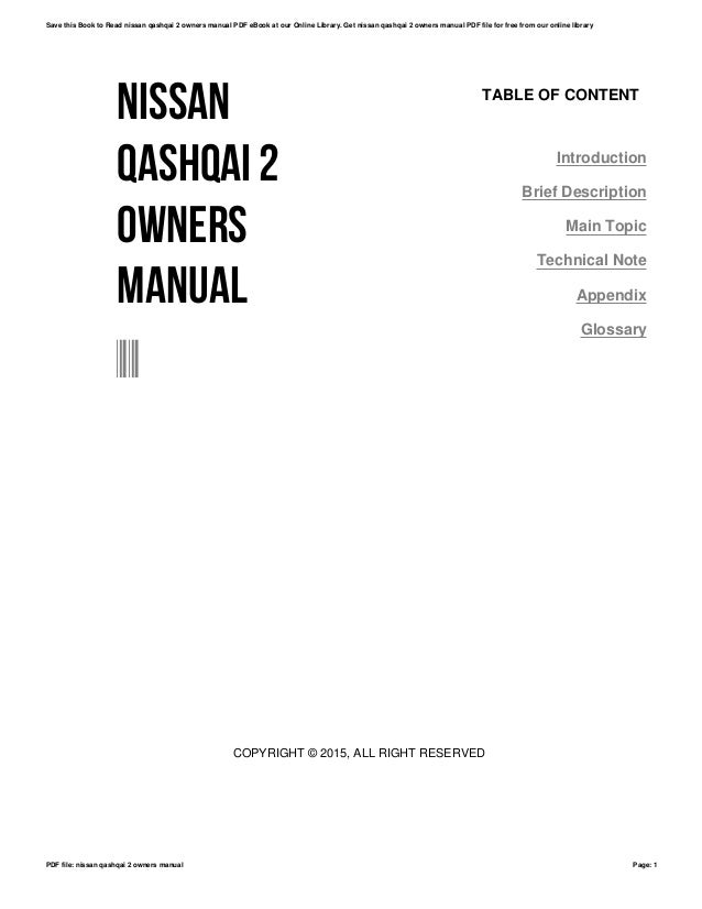 Nissan Qashqai+2 Owners Manual Pdf