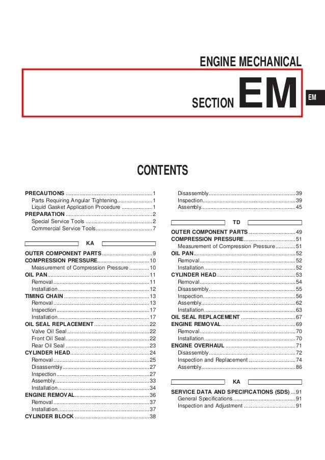 nissan qd32 engine service manual rh slideshare net ZD30 Explode Nissan ZD30 Engine Timing Mark For