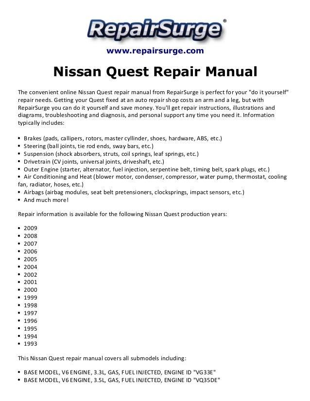 nissan quest 2005 repair manual browse manual guides u2022 rh trufflefries co Haynes Repair Manuals Mazda Haynes Repair Manuals PDF