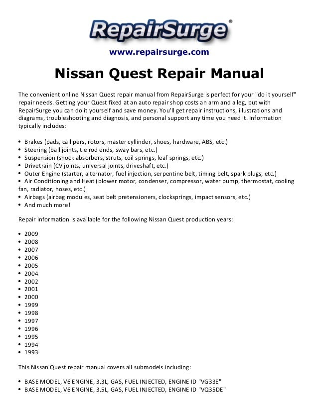 Nissan quest repair manual 1993 2009 repairsurge nissan quest repair manual the convenient online nissan quest repair manual asfbconference2016 Images