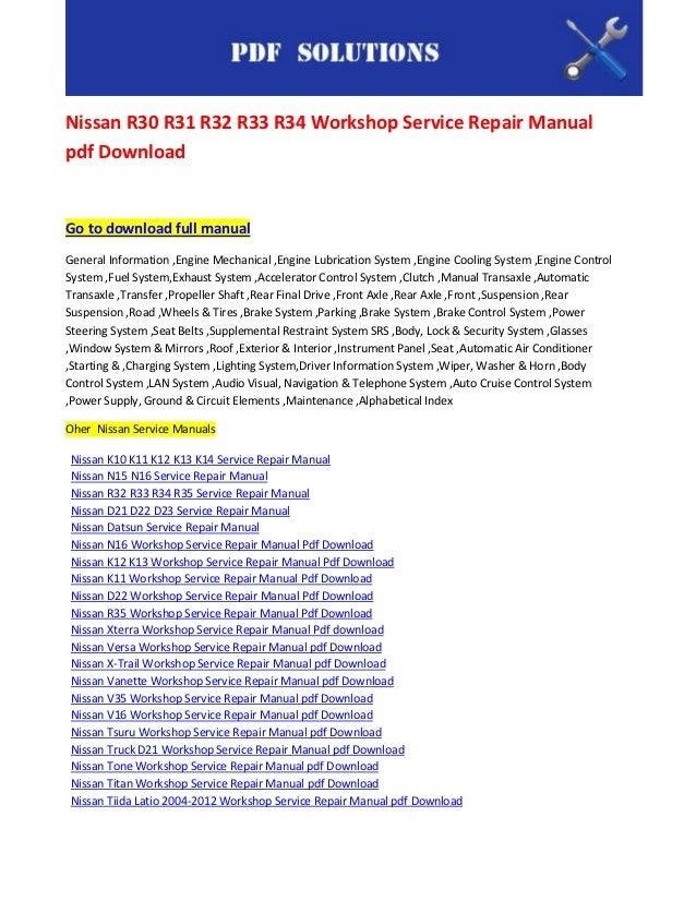 nissan r30 r31 r32 r33 r34 workshop service repair manual pdf rh slideshare net r33 gtst workshop manual download r33 gtr workshop manual pdf