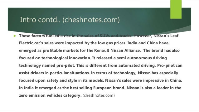 swot analysis of nissan This swot analysis features 8 companies, including tesla, inc, renault sa, volkswagen ag, ford motor co, general motors co, nissan motor co ltd.