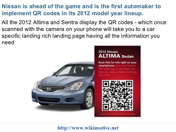 Nissan To Place Qr Codes On Window Stickers Wikimotive