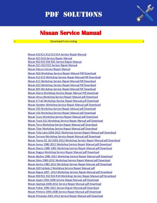 nissan workshop service repair manual pdf download rh slideshare net Nissan Sentra Owner's Manual Quest 2001 Nissan Wipersl