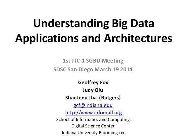Understanding Big Data Applications and Architectures 1st JTC 1 SGBD Meeting SDSC San Diego March 19 2014 Geoffrey Fox Jud...