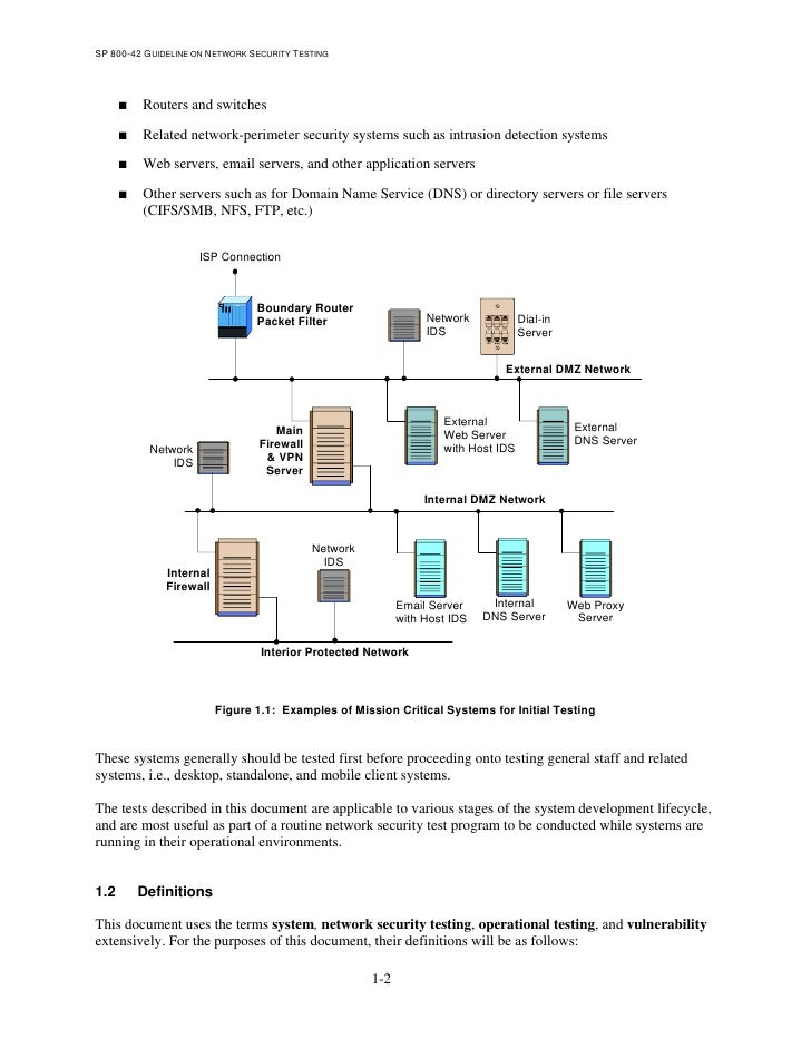 nist guideline in network security testing
