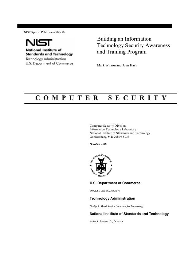 NIST Security Awareness SP 800-50
