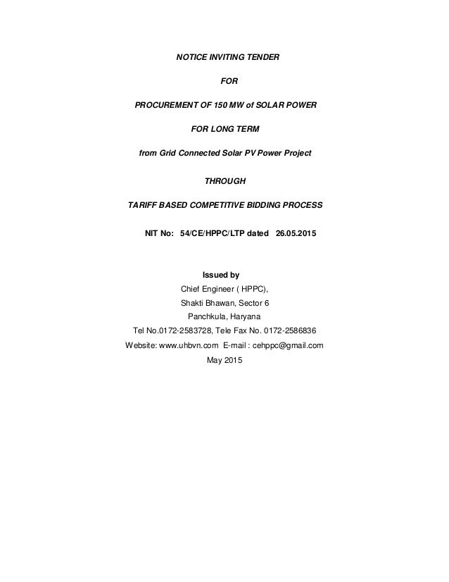 Tender Document for Procurement of 150MW of Solar Power from Grid Con…