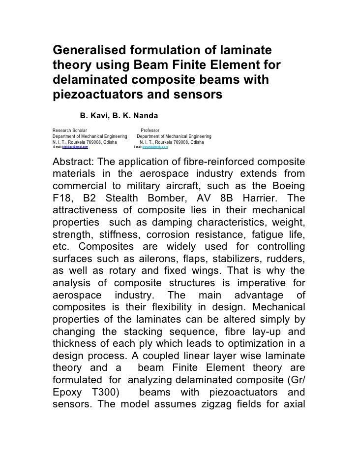 Generalised formulation of laminatetheory using Beam Finite Element fordelaminated composite beams withpiezoactuators and ...