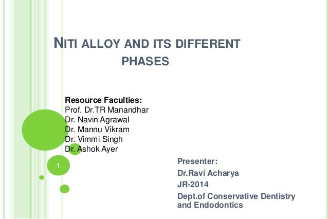 NITI ALLOY AND ITS DIFFERENT PHASES Presenter: Dr.Ravi Acharya JR-2014 Dept.of Conservative Dentistry and Endodontics 1 Re...