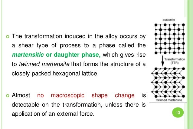  The transformation induced in the alloy occurs by a shear type of process to a phase called the martensitic or daughter ...