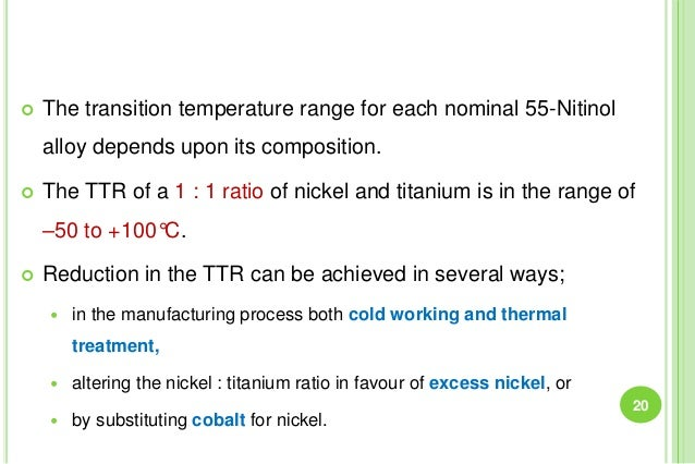  The transition temperature range for each nominal 55-Nitinol alloy depends upon its composition.  The TTR of a 1 : 1 ra...
