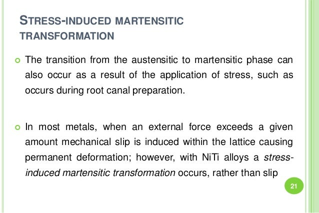 STRESS-INDUCED MARTENSITIC TRANSFORMATION  The transition from the austensitic to martensitic phase can also occur as a r...