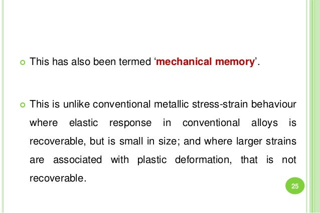  This has also been termed 'mechanical memory'.  This is unlike conventional metallic stress-strain behaviour where elas...