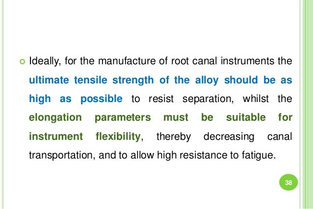  Ideally, for the manufacture of root canal instruments the ultimate tensile strength of the alloy should be as high as p...