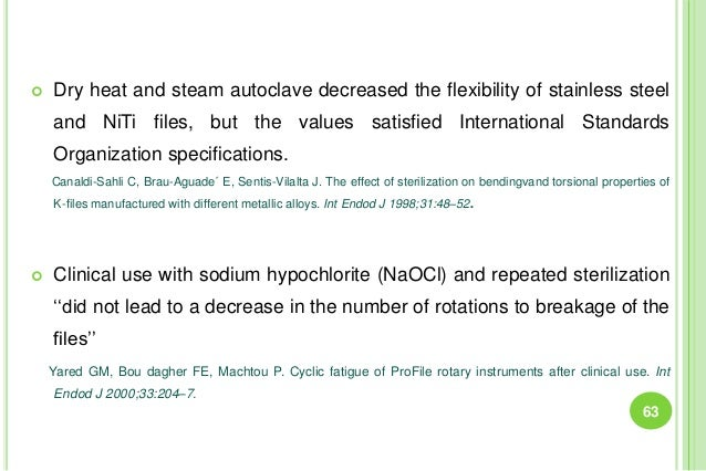  Dry heat and steam autoclave decreased the flexibility of stainless steel and NiTi files, but the values satisfied Inter...