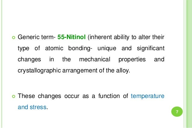  Generic term- 55-Nitinol (inherent ability to alter their type of atomic bonding- unique and significant changes in the ...