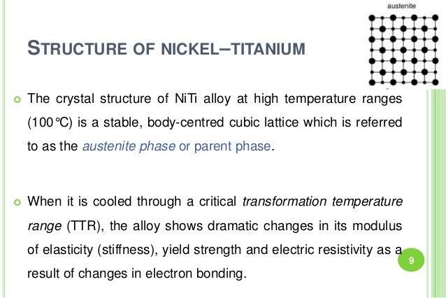 STRUCTURE OF NICKEL–TITANIUM  The crystal structure of NiTi alloy at high temperature ranges (100°C) is a stable, body-ce...
