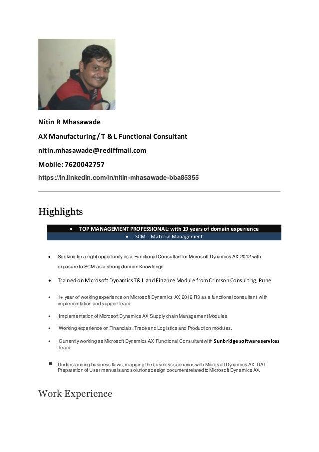 Nitin R Mhasawade AX Manufacturing /T & L Functional Consultant  nitin.mhasawade@rediffmail ...