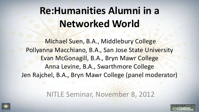 Re:Humanities Alumni in a          Networked World         Michael Suen, B.A., Middlebury College  Pollyanna Macchiano, B....