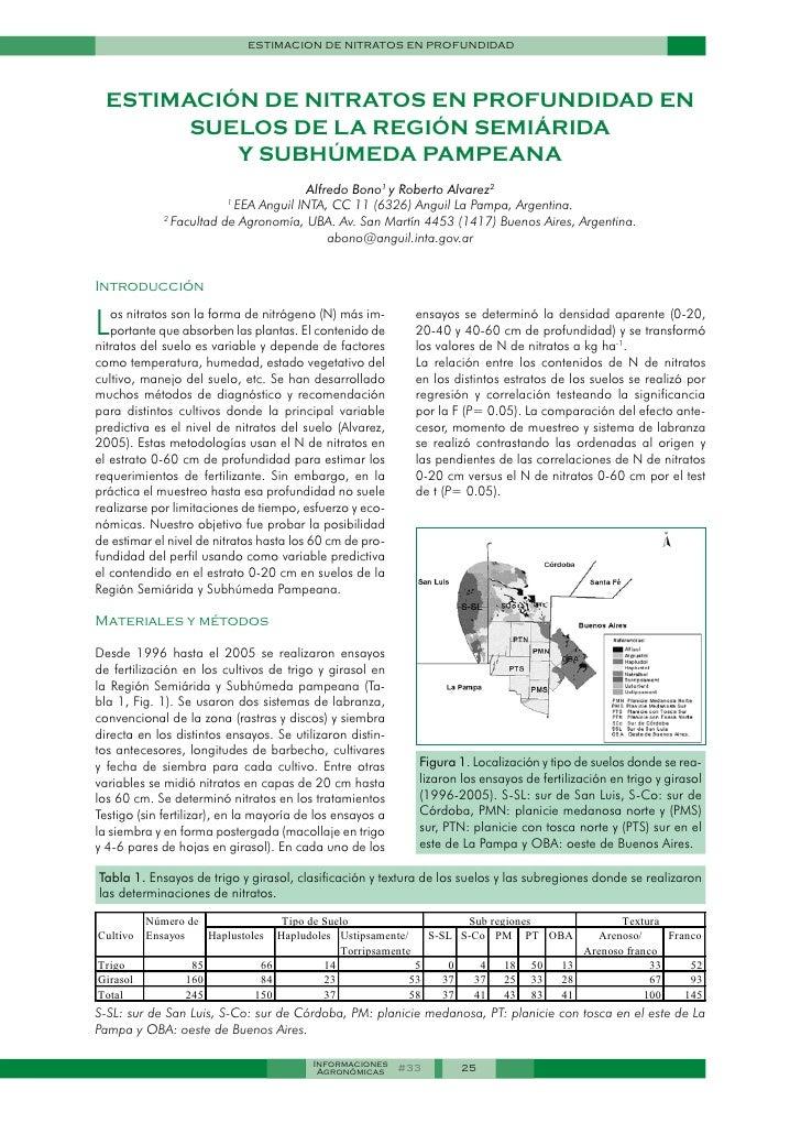 ESTIMACION DE NITRATOS EN PROFUNDIDAD       ESTIMACIÓN DE NITRATOS EN PROFUNDIDAD EN         SUELOS DE LA REGIÓN SEMIÁRIDA...