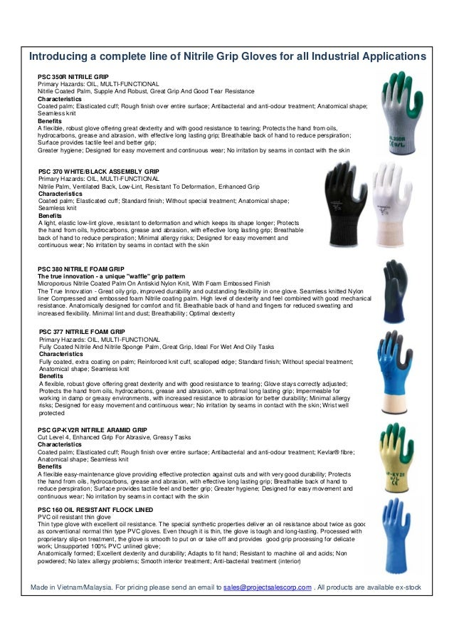 Introducing a complete line of Nitrile Grip Gloves for all Industrial Applications PSC 350R NITRILE GRIP Primary Hazards: ...