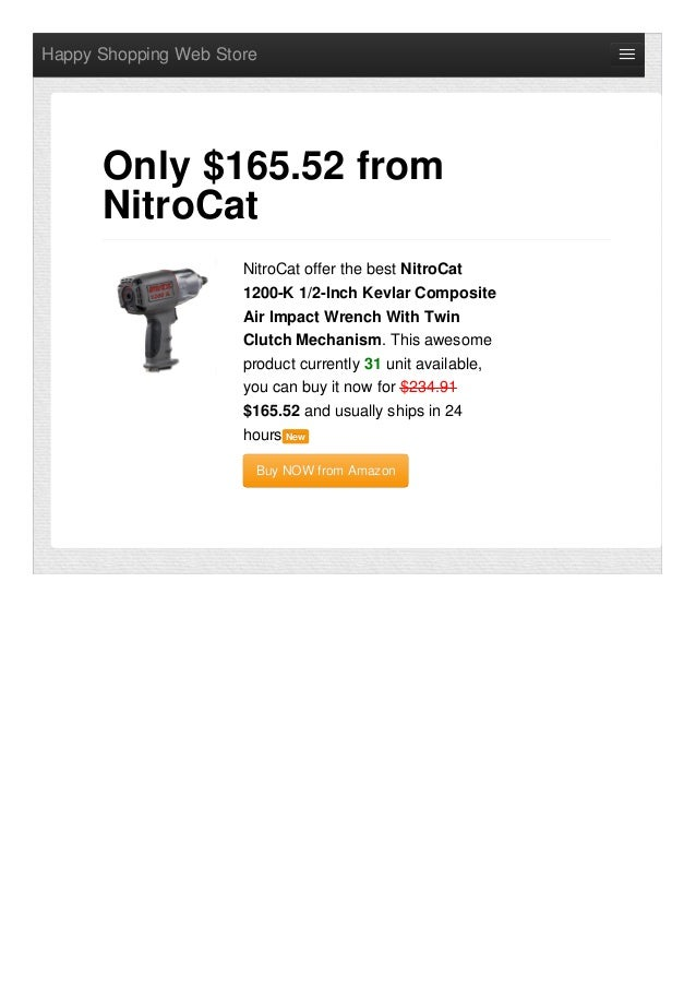 Happy Shopping Web Store NitroCat offer the best NitroCat 1200-K 1/2-Inch Kevlar Composite Air Impact Wrench With Twin Clu...