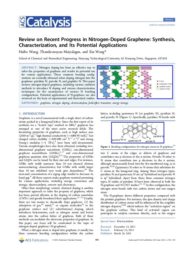 Review pubs.acs.org/acscatalysis  Review on Recent Progress in Nitrogen-Doped Graphene: Synthesis, Characterization, and I...