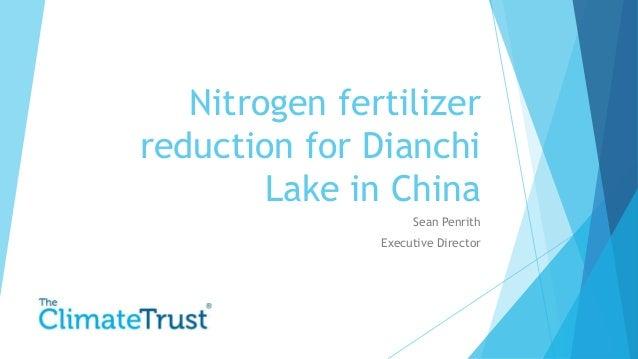 Nitrogen fertilizer reduction for Dianchi Lake in China Sean Penrith Executive Director