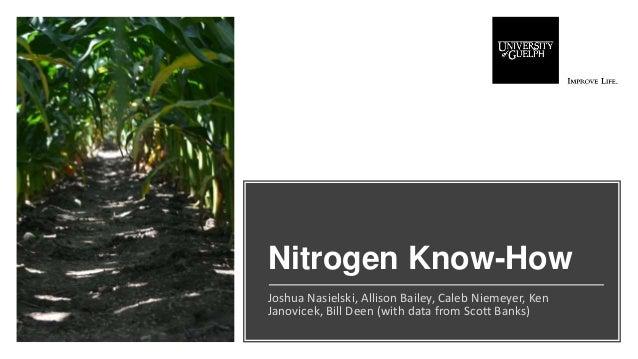Nitrogen Know-How Joshua Nasielski, Allison Bailey, Caleb Niemeyer, Ken Janovicek, Bill Deen (with data from Scott Banks)
