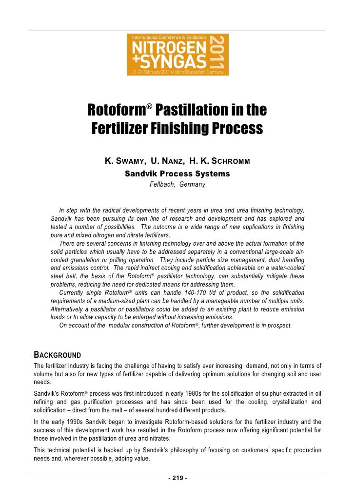 ⇌ pp                     Rotoform® Pastillation in the                     Fertilizer Finishing Process                   ...