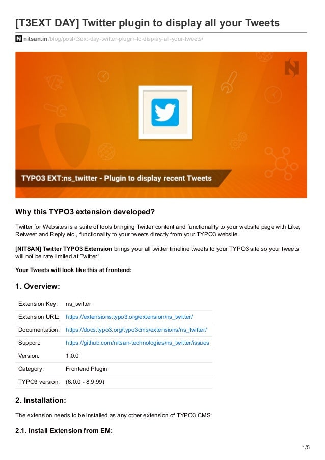 T3EXT DAY] TYPO3 Extension For Twitter