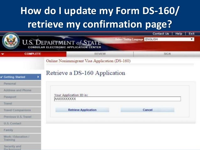 U S Nonimmigrant Visas Completing Form Ds 160