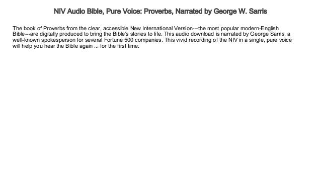 NIV Audio Bible, Pure Voice Proverbs, Narrated by George W
