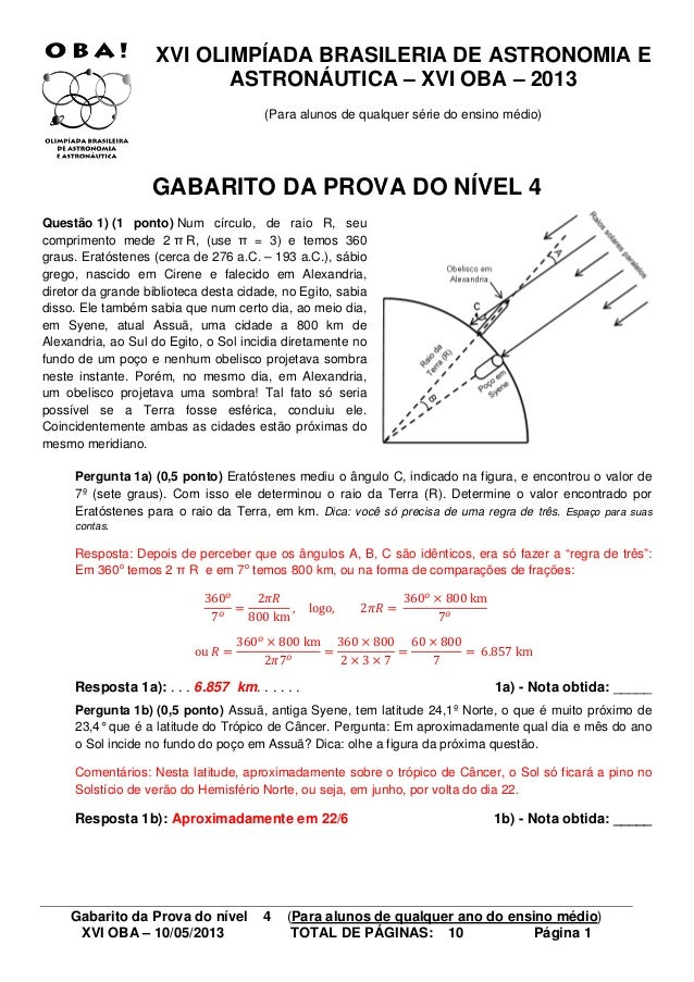 Gabarito da Prova do nível 4 (Para alunos de qualquer ano do ensino médio) XVI OBA – 10/05/2013 TOTAL DE PÁGINAS: 10 Págin...