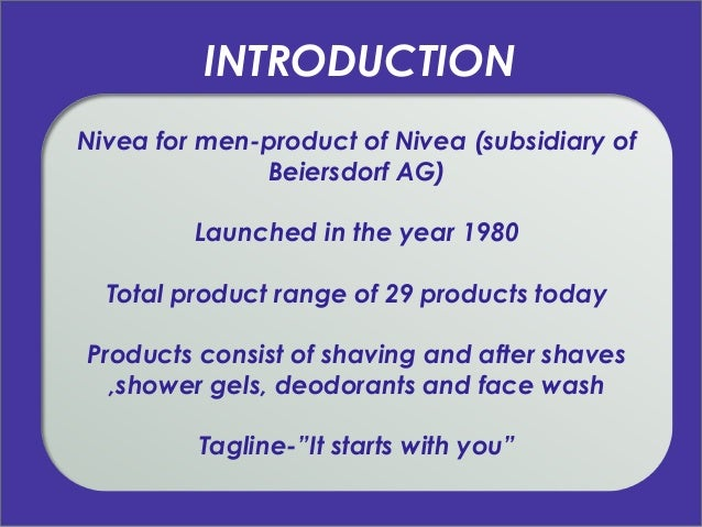 nivea presentation This video cover of nivea case focuses on product and marketing strategy of nivea company and answers questions from philip kotler's book this video cover presentation has been created by shubhra .