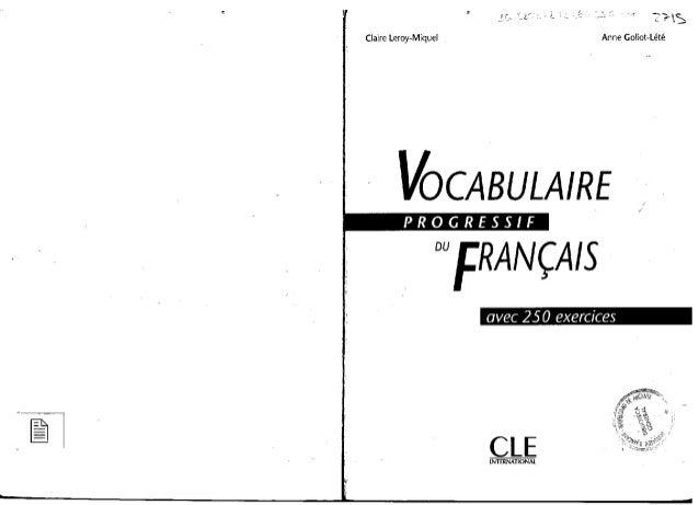 Niveau Intermediaire Vocabulaire Progressif Du Francais