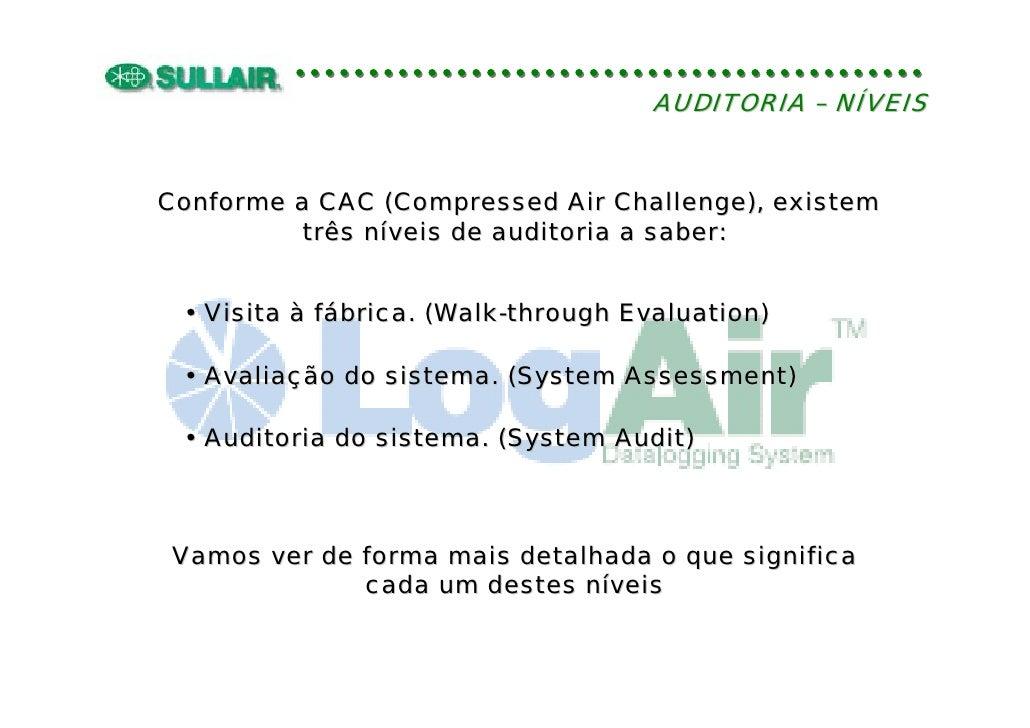 AUDITORIA – NÍVEIS   Conforme a CAC (Compressed Air Challenge), existem          três níveis de auditoria a saber:    • Vi...