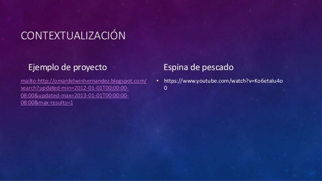 CONTEXTUALIZACIÓN  Ejemplo de proyecto  mailto:http://omardelwinhernandez.blogspot.com/  search?updated-min=2012-01-01T00:...