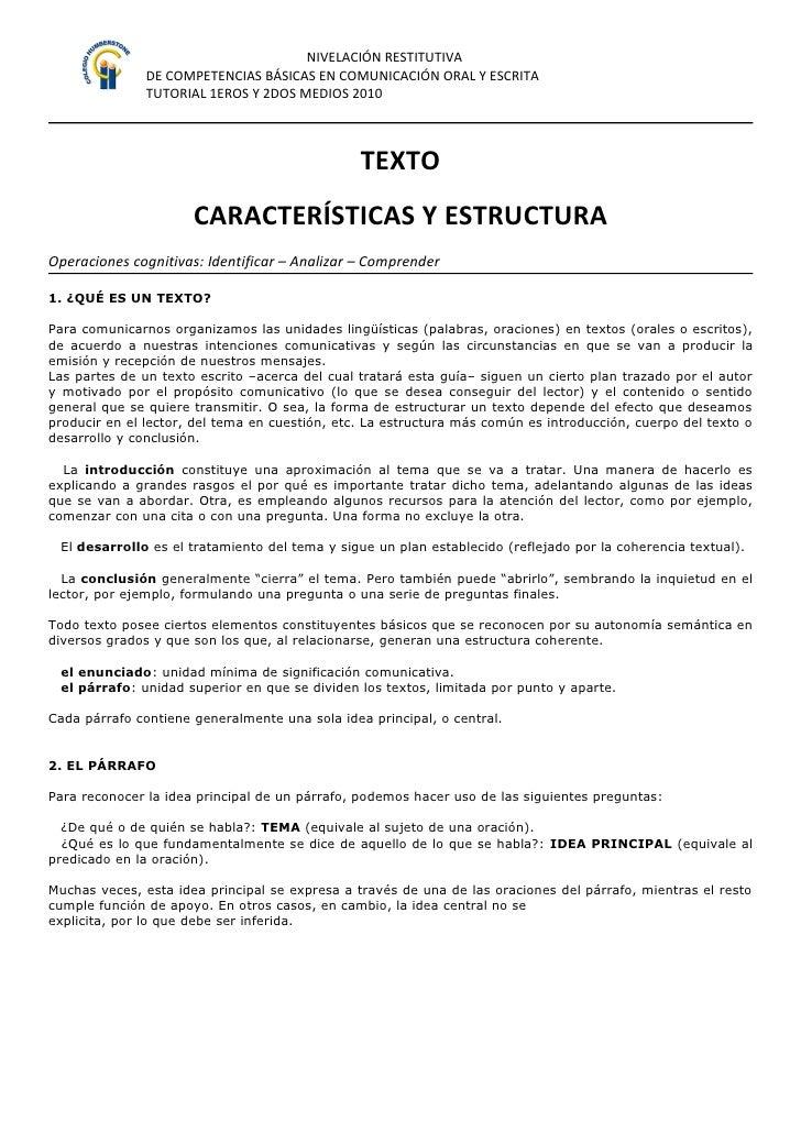 NIVELACIÓN RESTITUTIVA                DE COMPETENCIAS BÁSICAS EN COMUNICACIÓN ORAL Y ESCRITA                TUTORIAL 1EROS...