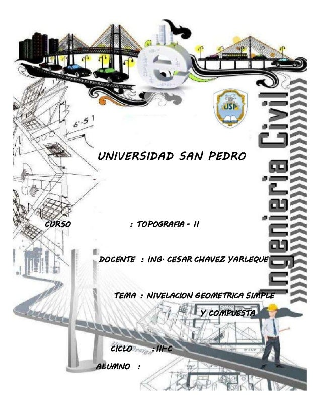 UNIVERSIDAD PRIVADA SAN PEDRO INGENIERIA CIVIL  UNIVERSIDAD SAN PEDRO  CURSO : TOPOGRAFIA - II  DOCENTE : ING. CESAR CHAVE...