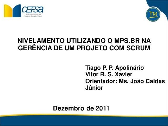 Dezembro de 2011 Tiago P. P. Apolinário Vitor R. S. Xavier Orientador: Ms. João Caldas Júnior NIVELAMENTO UTILIZANDO O MPS...
