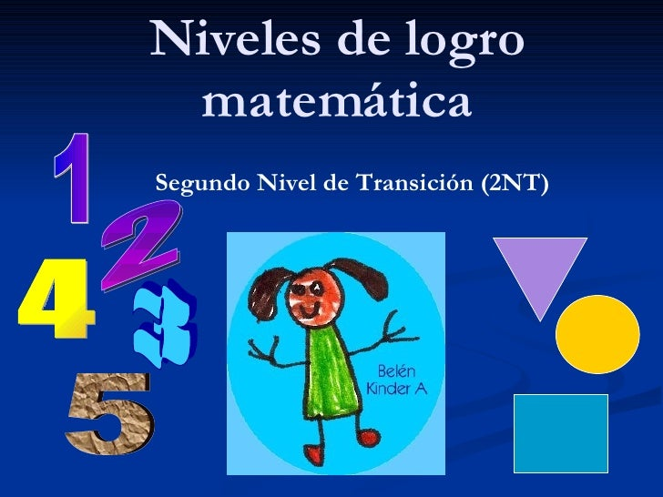 Niveles de logro matemática Segundo Nivel de Transición (2NT) 1 2 3 5 4