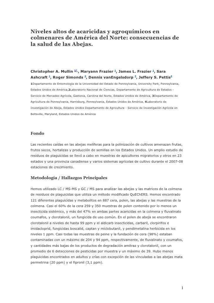 Niveles altos de acaricidas y agroquímicos en colmenares de América del Norte: consecuencias de la salud de las Abejas.   ...