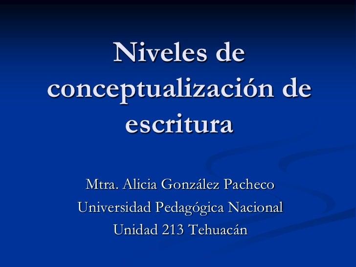 Niveles de conceptualización de escritura<br />Mtra. Alicia González Pacheco<br />Universidad Pedagógica Nacional<br />Uni...