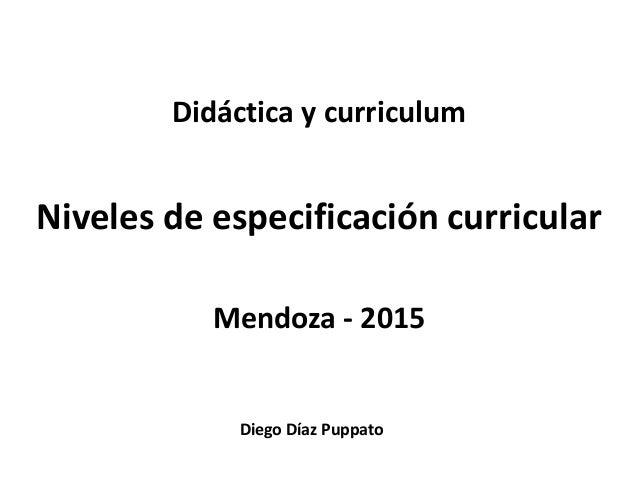 Diego Díaz Puppato Didáctica y curriculum Niveles de especificación curricular Mendoza - 2015