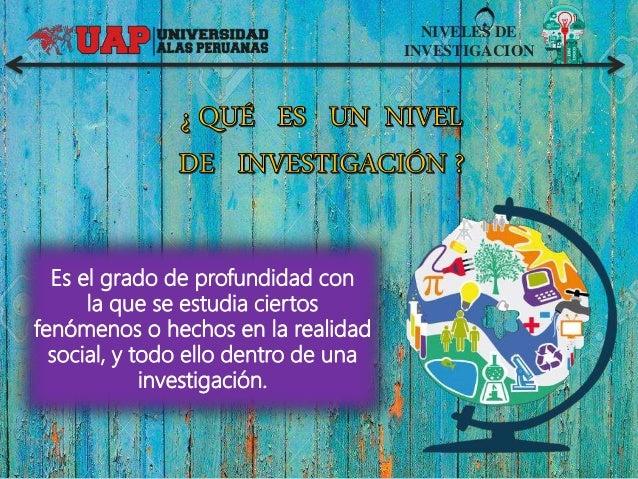 NIVELES DE INVESTIGACION Es el grado de profundidad con la que se estudia ciertos fenómenos o hechos en la realidad social...