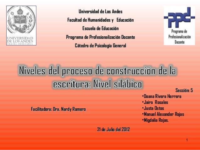 Universidad de Los Andes                    Facultad de Humanidades y Educación                             Escuela de Edu...