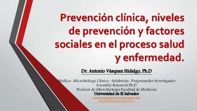 Niveles de prevencion en salud enfermedad