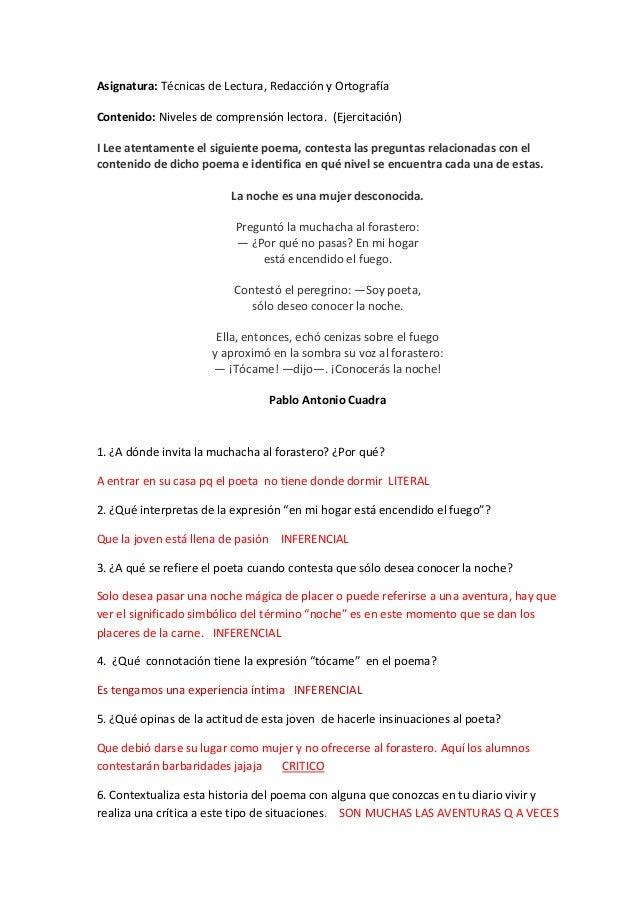 Asignatura: Técnicas de Lectura, Redacción y Ortografía Contenido: Niveles de comprensión lectora. (Ejercitación) I Lee at...